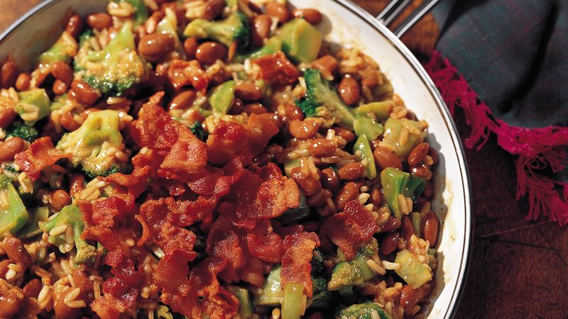 Broccoli, Rice and Chili Beans