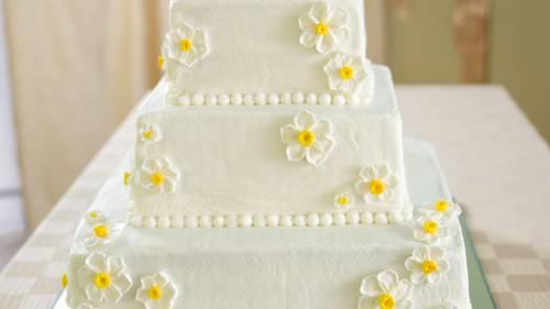 White Wedding Cake With Raspberry Filling Recipe Bettycrocker Com