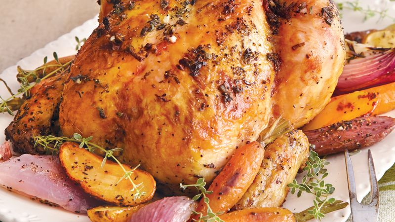 Butter Herb Roasted Chicken Recipe Bettycrocker Com