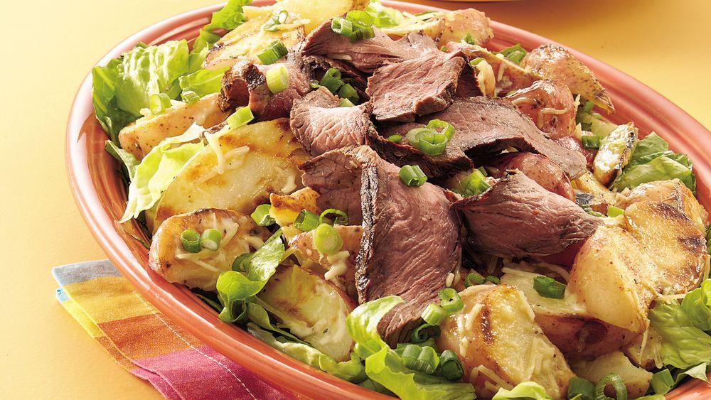 Grilled Caesar Steak and Potato Salad