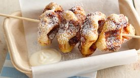 Mini Cinnamon Roll Waffles on a Stick