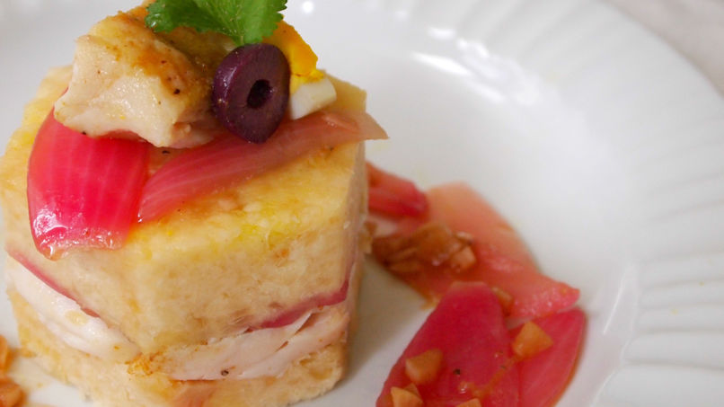 Yucca Causa with Fish Escabeche