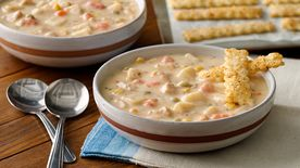 Cheesy Herb Crackers with Pot Pie Soup