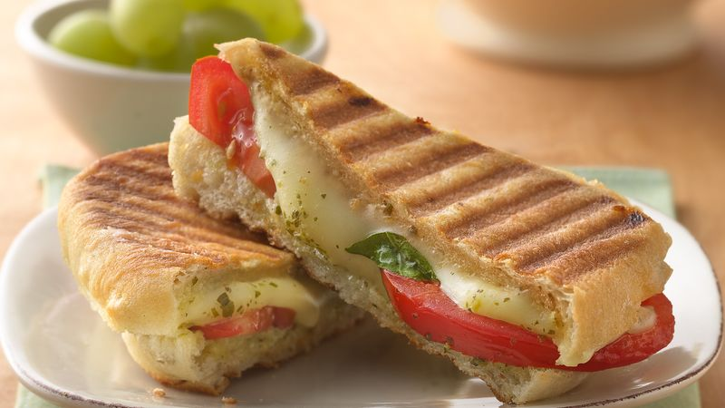 Pesto, Mozzarella and Tomato Panini Recipe - BettyCrocker.com
