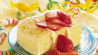 Strawberry Topped Lemon Cream Cheese Cake