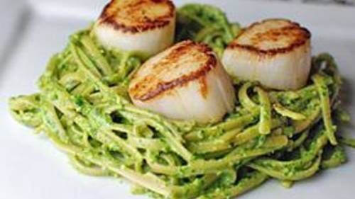 Eucalyptus Pesto with Scallops Recipe - Tablespoon.com