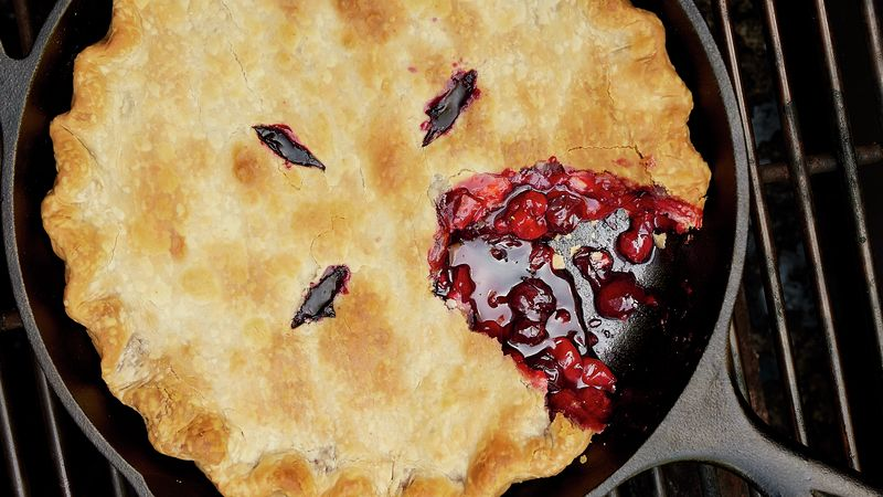 Grilled Cherry-Berry Skillet Pie