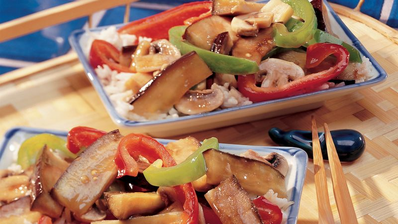 Stir-Fried Eggplant and Peppers
