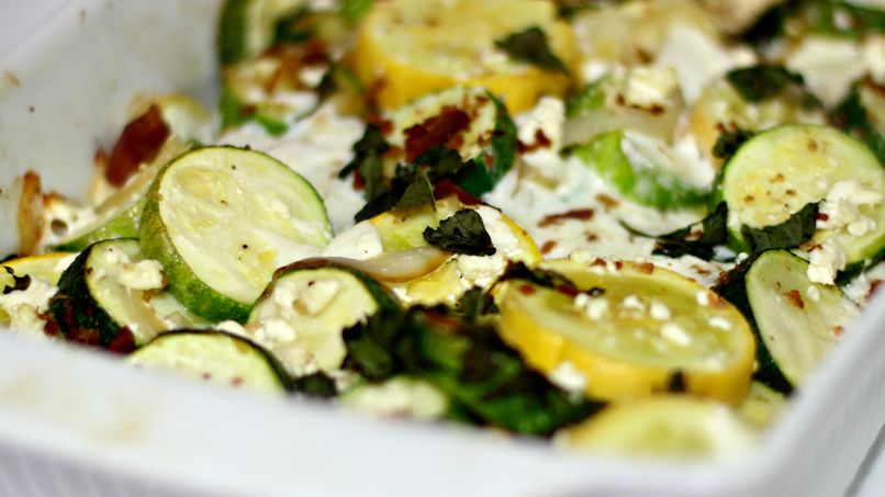 Baked Zucchini with Feta, Onion and Basil