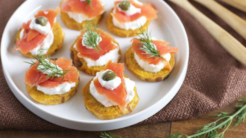 Slices of Sweet Potato with Smoked Salmon