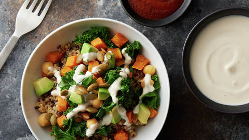 Quinoa Harvest Bowl with Tahini-Yogurt Sauce