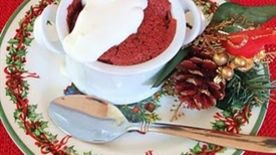 Red Velvet soufflés with Whipped Sour Cream