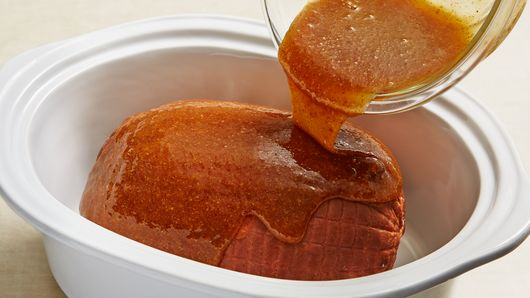 Slow cooker maple brown sugar ham recipe pillsbury in small bowl stir together mustard syrup and brown sugar with whisk until well blended pour mixture over ham ccuart Image collections