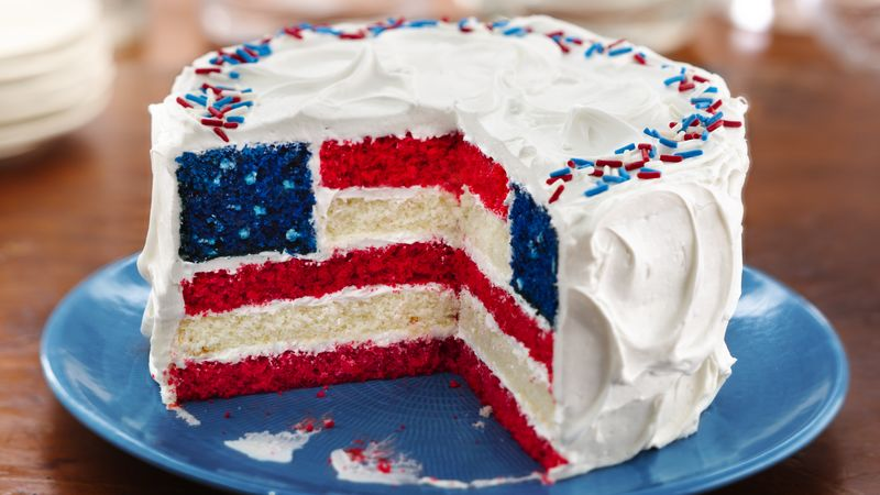 Red White And Blue Layered Flag Cake Recipe Bettycrocker