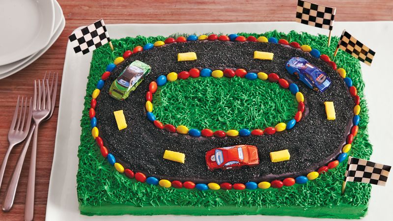 Miraculous Racetrack Sheet Cake Recipe Bettycrocker Com Funny Birthday Cards Online Elaedamsfinfo