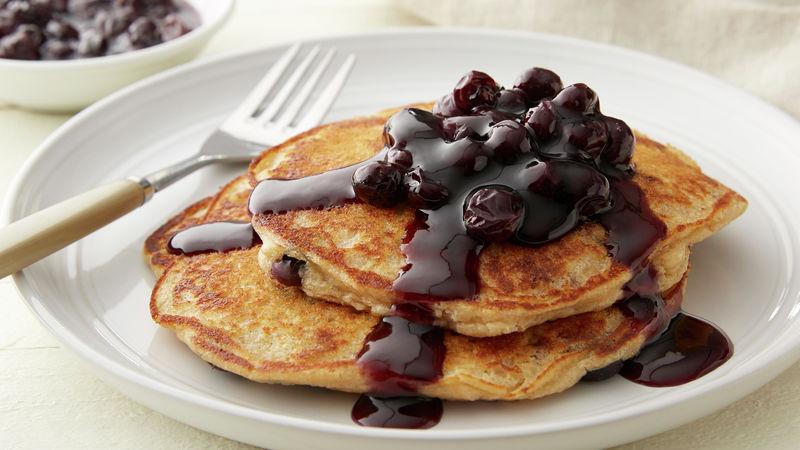 Buttermilk Blueberry Oat Flour Pancakes