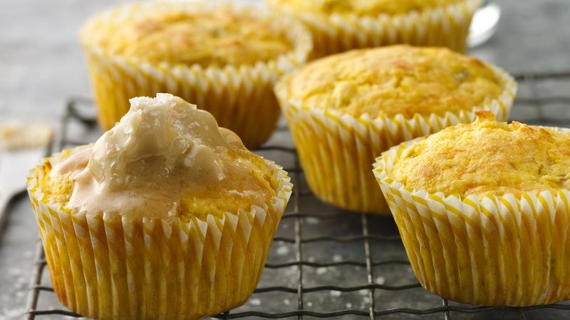 Cornbread Cupcakes With Maple Butter Topping Recipe Bettycrocker