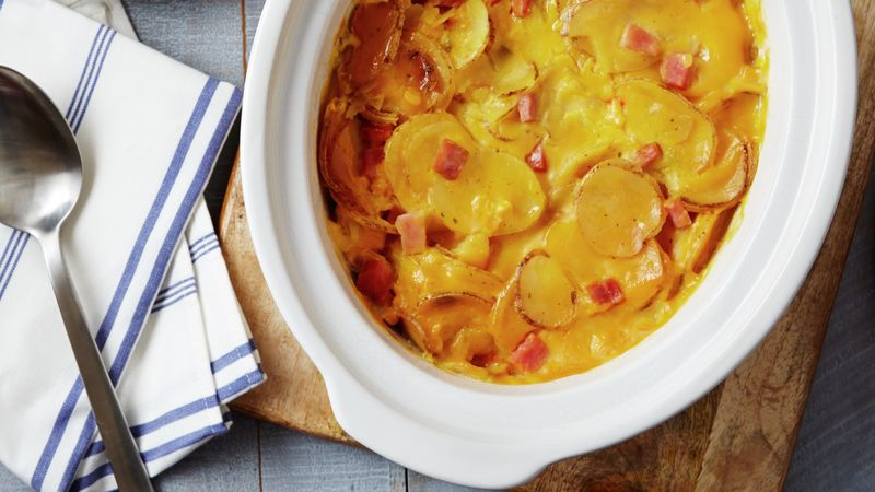 Slow-Cooker Cheesy Ham au Gratin
