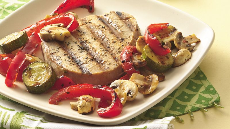 Basil-Tuna Steaks and Vegetables