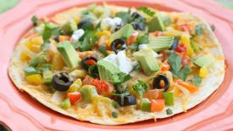 Open-Faced Enchilada Veggie Quesadillas