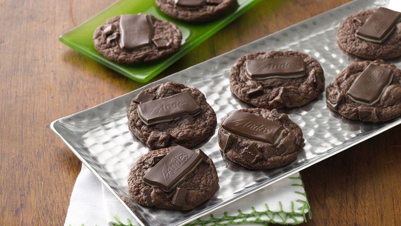 Mint Thumbprint Double Chocolate Chunk Cookies