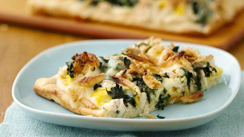 Chicken Alfredo Brunch Pizza