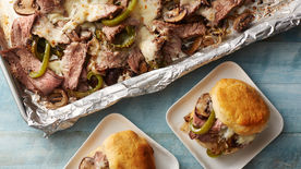 Sheet-Pan Philly Cheese Steaks