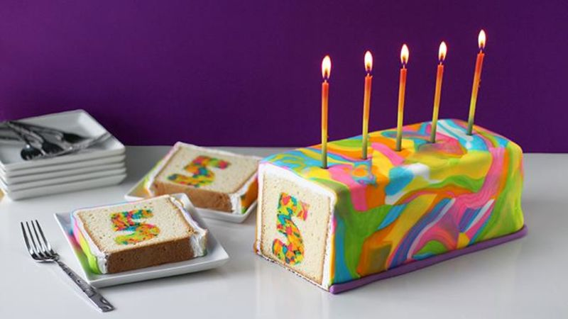 Rainbow TieDye Surprise Cake Recipe Tablespooncom