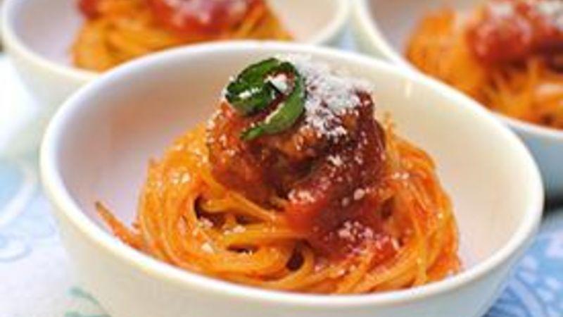 Spaghetti and Meatball Bites