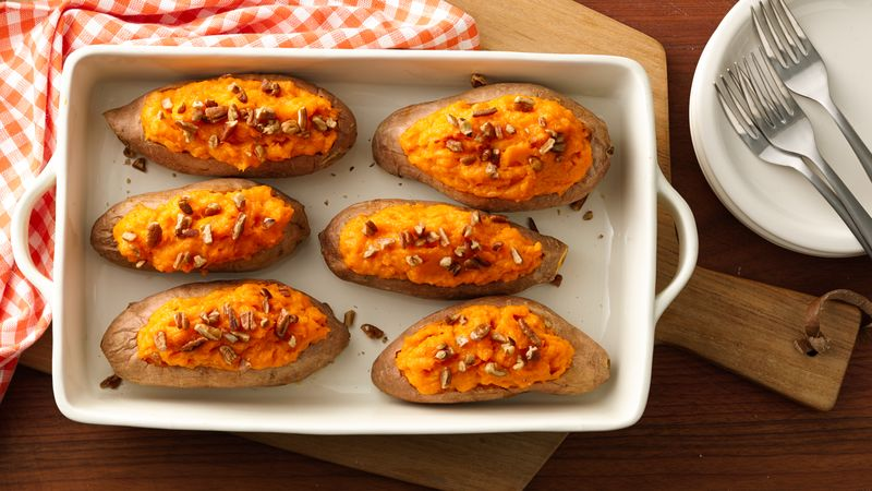 Make Ahead Baked Sweet Potatoes Recipe Bettycrocker Com