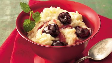 Creamy Rice Pudding with Brandied Cherry Sauce