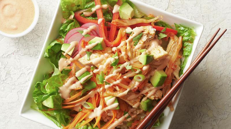 Yummy Rice Bowl with Kimchi Vinaigrette