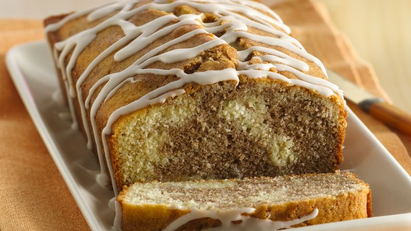Cinnamon Roll Pound Cake With Vanilla Drizzle