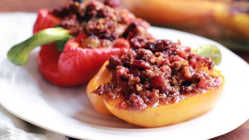 Cuban Picadillo-Stuffed Red Bell Peppers