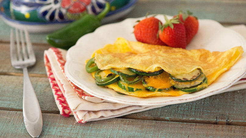 Grilled Zucchini and Jalapeño Omelet