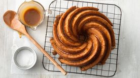One-Bowl Caramelized Banana Bread Bundt Cake with Salted Caramel Glaze