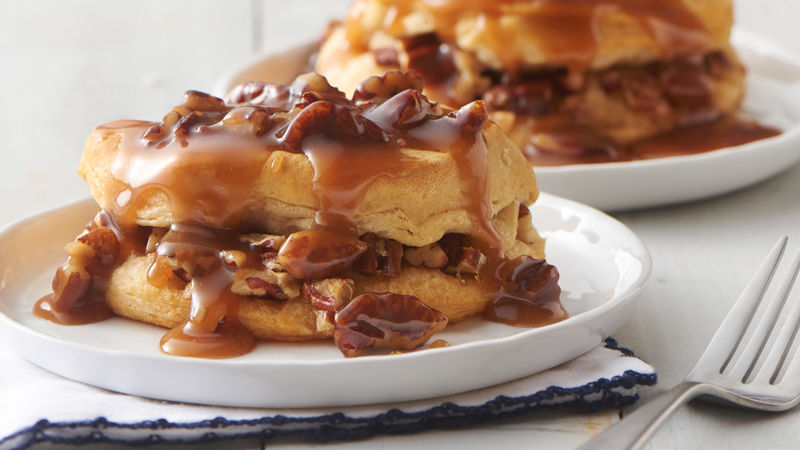 Pecan Praline-Stuffed Breakfast Biscuit Sandwiches