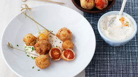 Fried Cherry Tomatoes with Spicy Yogurt