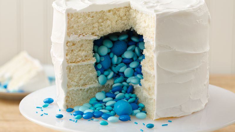 Surprise on the Inside Gender Reveal Cake Recipe BettyCrockercom