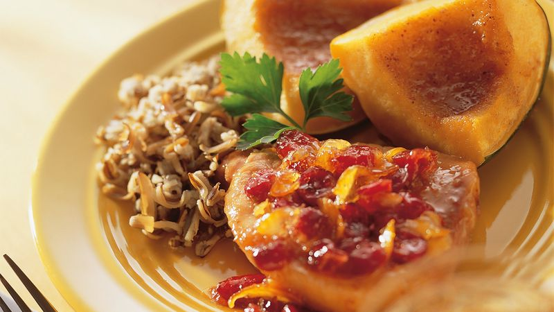 Cranberry-Ginger Pork With Glazed Acorn Squash