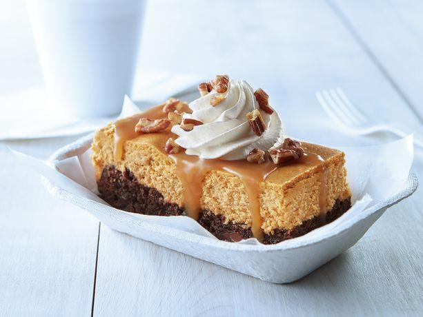 Caramel Topped Pumpkin Cheesecake Brownies