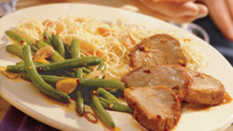 Spicy Barbecued Pork Tenderloin with Green Beans