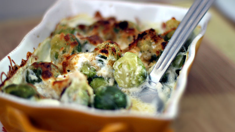 Four Cheese Brussels Sprouts Au Gratin