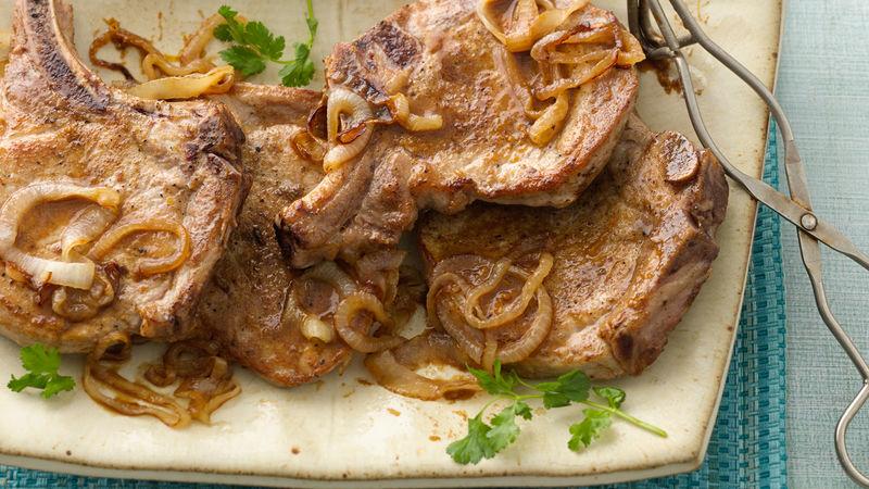 Orange Glazed Pork Chops with Caramelized Onions