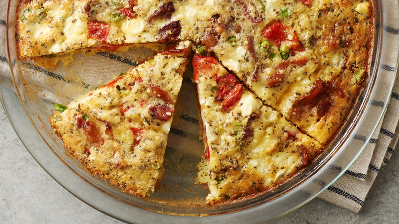 Impossibly Easy Roasted Peppers and Feta Cheese Pie