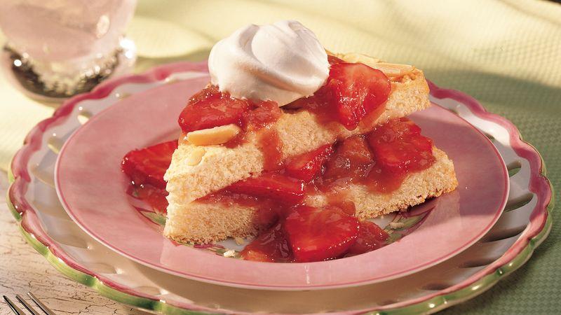 Almond Shortcake with Strawberry-Rhubarb Sauce