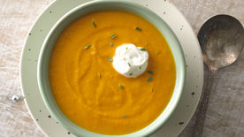 Roasted Carrot Soup with Crème Fraîche