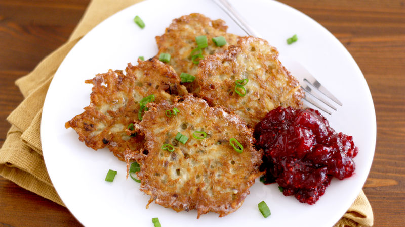 Potato Latkes with Cranberry Sauce