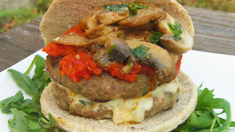 Turkey Burgers with Red Pepper and Eggplant Sauce