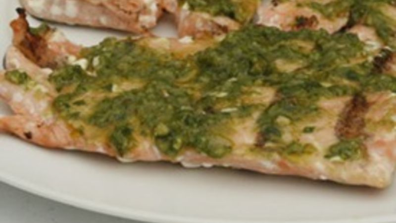 Grilled Pesto-Topped Salmon